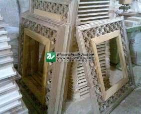 پنل چوبی سقف ساخته شده با هنر گره چینی مشبک به  روش مهره ماسوره پروژه مصلی تبریز-آذربایجان شرقی