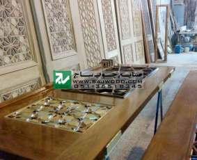 رنگ آمیزی درب چوبی ساخته شده با هنر گره چینی توپر و مشبک طرح تند ده پروژه مسجد نیروگاه سیکل ترکیبی فردوسی مشهد-خراسان