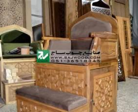 منبر ساخته شده از چوب گردو دوپله سفارشی با هنر گره چینی دستساز کد 107 جهت هیئت مذهبی،مساجد،حسینیه،نمازخانه