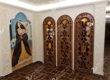 پارتیشن قواره بری با ترکیب شیشه های رنگی هتل قصر طلایی مشهد