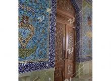 درب چوبی گره چینی چهارلنگه مسجد حضرت فاطمه(س)- نخجوان - جمهوری آذربایجان