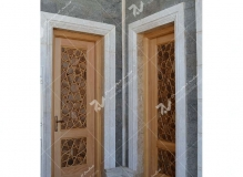 درب سنتی چوبی تک لنگه گره چینی با دست مسجد حضرت فاطمه(س)- نخجوان - جمهوری آذربایجان