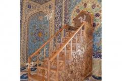 منبر هفت پله گره چینی با چوب گردو مسجد حضرت فاطمه(س)- نخجوان - جمهوری آذربایجان