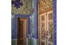 درب سنتی گره چینی با چوب گردو و راش مسجد حضرت فاطمه(س)- نخجوان - جمهوری آذربایجان