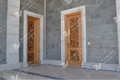 درب چوبی سنتی با هنر گره چینی مسجد حضرت فاطمه(س)- نخجوان - جمهوری آذربایجان