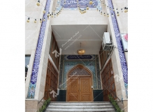(5) درب سنتی چوبی گره چینی مسجد وحسینیه حضرت موسی بن جعفر(ع) (منتظریه) هاشمیه - مشهد مقدس