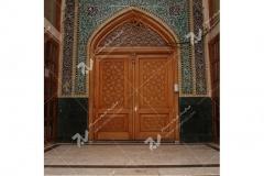 (2) درب سنتی چوبی گره چینی مسجد وحسینیه حضرت موسی بن جعفر(ع) (منتظریه) هاشمیه - مشهد مقدس