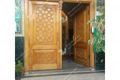 (4) درب چوبی گره چینی سنتی مسجد وحسینیه حضرت موسی بن جعفر(ع) (منتظریه) هاشمیه - مشهد مقدس