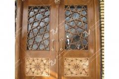 (2) درب چوبی سنتی گره چینی مشبک مسجد نیروگاه سیکل ترکیبی فردوسی ( طوس ) - مشهد مقدس