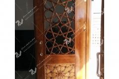 (9) درب چوبی سنتی گره چینی مشبک مسجد نیروگاه سیکل ترکیبی فردوسی ( طوس ) - مشهد مقدس