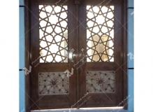 (5) درب چوبی سنتی گره چینی مشبک چهارلنگه مسجد نیروگاه سیکل ترکیبی فردوسی ( طوس ) - مشهد مقدس