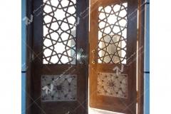 (4) درب چوبی گره چینی توپر و مشبک مسجد نیروگاه سیکل ترکیبی فردوسی ( طوس ) - مشهد مقدس
