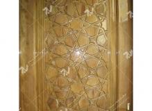 (4) درب چوبی گره چینی سنتی شمسه تند ده مسجد بیت الرضا (ع) مقابل باب الجواد - مشهد مقدس