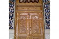 (5) درب چوبی گره چینی مسجد بیت الرضا (ع) مقابل باب الجواد - مشهد مقدس