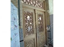 (7)درب مشبک چوبی گره چینی مسجد ابا عبدالله حسین - خیابان خرمشهر- مشهد مقدس