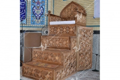 (3)منبر چوبی گره چینی مسجد ابا عبدالله حسین - خیابان خرمشهر- مشهد مقدس