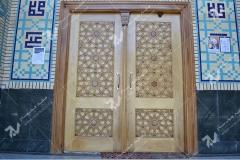(3) درب سنتی چوبی گره چینی توپر و مشبک مسجد وحسینیه امام علی(ع) مطهری - مشهد مقدس