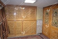 (1) درب چوبی و کمد گره چینی مشبک مسجد وحسینیه امام علی(ع) مطهری - مشهد مقدس