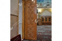 (5) درب چوبی گره چینی توپر مسجد وحسینیه امام علی(ع) مطهری - مشهد مقدس