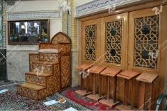 (7) درب چوبی گره چینی مشبک و منبر مسجد وحسینیه امام علی(ع) مطهری - مشهد مقدس