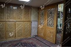 (8) درب سنتی ، کمد و پنجره چوبی گره چینی مشبک مسجد وحسینیه امام علی(ع) مطهری - مشهد مقدس
