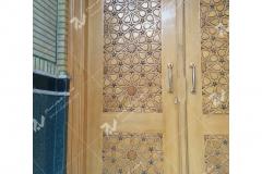 (4) درب چوبی گره چینی توپر و مشبک مسجد وحسینیه امام رضا (ع) عنصری - مشهد مقدس