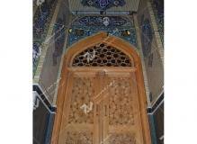 (1) درب چوبی سنتی گره چینی و سردرب مشبک مسجد وحسینیه امام رضا (ع) عنصری - مشهد مقدس