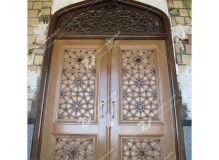 درب چوبی گره چینی طرح تند ده مسجد وحسینیه امام سجاد(ع) - قاسم آباد - مشهد مقدس