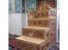 گره چینی چوب طرح ترکیبی هشت و مربع ترنج منبر مسجد وحسینیه امام سجاد(ع) - قاسم آباد - مشهد مقدس