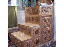 گره چینی ترکیب هشت و مربع ترنج منبر چوبی مسجد وحسینیه امام سجاد(ع) - قاسم آباد - مشهد مقدس