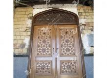 درب سنتی و چوبی گره چینی طرح تند ده مسجد و حسینیه امام سجاد(ع) - قاسم آباد - مشهد مقدس