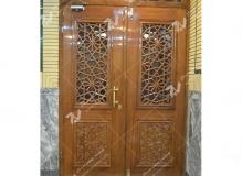 (5) درب چوبی گره چینی مشبک شیشه ای مسجد و مجتمع فرهنگی حضرت علی اصغر (ع) دانش- مشهد مقدس