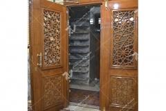 (6) درب چوبی سنتی گره چینی مشبک مسجد و مجتمع فرهنگی حضرت علی اصغر (ع) دانش- مشهد مقدس