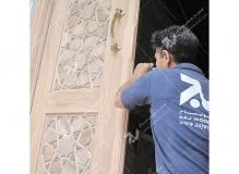 (3) ساخت درب چوبی گره چینی مسجد امام سجاد(ع) - طبرسی شمالی - مشهد مقدس