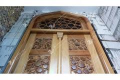 درب چوبی ورودی مسجد امام سجاد خیابان طبرسی مشهد