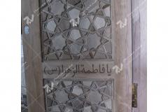 (6) درب چوبی سنتی باهنر گره چینی مسجد امام سجاد(ع) - طبرسی شمالی - مشهد مقدس
