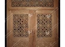 درب چوبی سنتی گره چینی مشبک مجتمع آموزشی سیدالشهدا- عدل خمینی- مشهد مقدس (1)