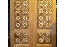 درب چوبی گره چینی با چوب گردو ،راش و چنار مجتمع فرهنگی ومسجد حضرت جوادالائمه (ع)- شریعتی- مشهد مقدس (1)