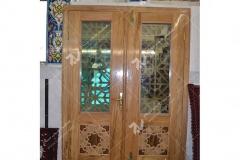 (2) درب چوبی گره چینی مشبک مسجد وحسینیه امام رضا (ع) باهنر- مشهد مقدس