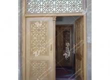 (3)درب چوبی گره چینی مشبک و توپر مسجد وحسینیه شهدای دانشگاه آزاد نیشابور