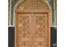(6) درب چوبی گره چینی توپر مسجد دانشگاه آزاد قوچان