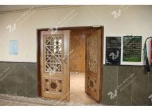 (7) درب چوبی گره چینی مشبک و توپر مسجد دانشگاه آزاد قوچان