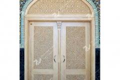 (10) درب سنتی چوبی گره چینی تند دوازده و سردرب گره چینی مسجد دانشگاه آزاد قوچان