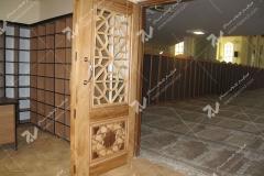 (13) درب چوبی گره چینی مشبک شبستان مسجد دانشگاه آزاد قوچان