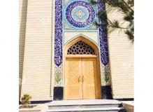 (3) درب سنتی چوبی گره چینی توپر و سردرب مشبک مسجد دانشگاه آزاد شاهرود