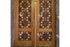 (2) درب چوبی گره چینی طرح کند دوپنج ورودی موسسه نشروتنظیم آثار امام خمینی (ره) - عراق – نجف اشرف