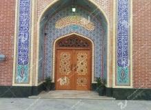 (4) درب سنتی چوبی گره چینی و مشبک ارسی حسینیه جان نثاران پنج باب الحوائج -17شهریور- مشهد مقدس