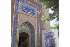 (10) درب ورودی چوبی گره چینی شمسه تند ده حسینیه جان نثاران پنج باب الحوائج -17شهریور- مشهد مقدس