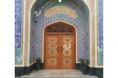 (3) درب چوبی گره چینی شمسه تند ده حسینیه جان نثاران پنج باب الحوائج -17شهریور- مشهد مقدس