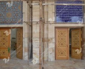 درب چوبی گره چینی طرح تند ده - مجتمع شهید محراب ثقفی - نجف اشرف
